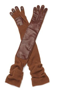 Rochas Rust Knit Wool And Leather Gloves