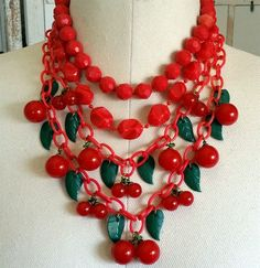 1930 Red BAKELITE Catalin Double Strand Cherry Cherries Celluloid Chain Necklace