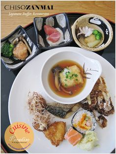 """Chiso Zanmai Japanese Buffet Restaurant  ~ My plating of """"Kaiseki"""" which is a traditional multi-course Japanese cuisine"""