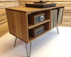 New mid century modern record player console, turntable, stereo cabinet with LP album storage. Quartersawn white oak with hairpin legs. Modern Record Player, Record Player Console, Record Stand, Stereo Cabinet, Record Cabinet, Console Cabinet, Mid-century Modern, Rack Tv, Tv Decor
