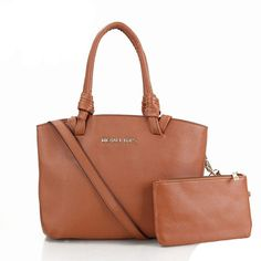 Michael Kors Miranda Saffiano Logo Medium Brown Totes