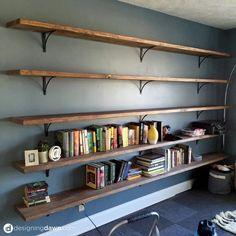 Living Room Shelves Libraries – Dawn's House DIY Library Shelving - Bookshelf Decor Diy Bookshelf Wall, Bookshelves In Living Room, Floating Bookshelves, Library Shelves, Wood Shelves, Bookshelf Ideas, Diy Wall, Wall Shelves For Books, Wall Decor