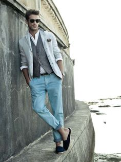 Love the vest and blazer combo.  Roll up the pant legs. Give it a casual look.