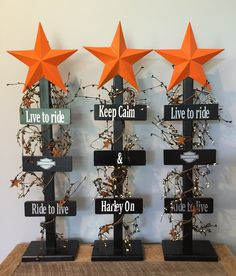 A personal favorite from my Etsy shop https://www.etsy.com/listing/400721335/wecome-harley-davidson-star-tree-home