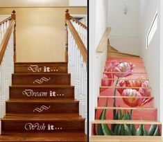 Although a carpet is a popular choice for covering the stairs, it can also wear out easily and can look dull after sometime. DecorDezine gives you 7 alternatives to carpets on stairs that will freshen up your home décor in no time. Stair Art, Stair Decor, Painted Stair Risers, Beautiful Stairs, Stair Makeover, Stair Steps, Interior Stairs, Carpet Stairs, How To Clean Carpet