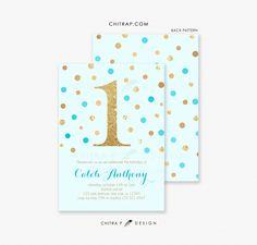 Boy First Birthday Invitations - Printed, Blue Gold Baby Glitter Blush Confetti Teal Aqua Brunch 2nd 3rd 4th 5th 6th Any Age Dol -  by chitrap.etsy.com