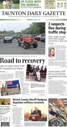 The front page of the Taunton Daily Gazette for Tuesday, Aug. 4, 2015.