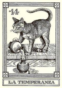 TEMPERANCE Osvaldo Menegazzi tarot card. My favorite tarot card along with my lucky number 14 and a kitty. I love my kitties.