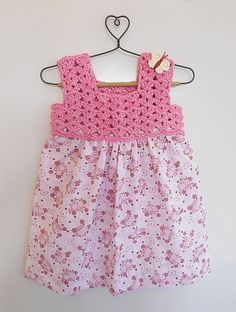 Buy Pink Floral Printed Cotton Dress with Crochet Yoke Knitting Kids Dresses/Jumpsuits Fun in the Sun dresses details for Online at Jaypore.com