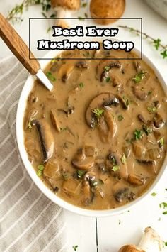 This is the best ever mushroom soup. This creamy mushroom soup is easy to make, low carb, dairy free, vegan, paleo and friendly. Ready in about 30 minutes. This recipe will soon become your go to soup. Creamy Mushroom Soup, Mushroom Soup Recipes, Easy Soup Recipes, Dinner Recipes, Healthy Mushroom Soup, Homemade Mushroom Soup, Vegan Mushroom Soup, Mushroom Stew, Vegetarian Casserole