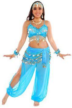 6-Piece Genie Belly Dancer Costume in Blue u0026 Silver  sc 1 st  Pinterest & diy genie costume for kids - Google Search | Halloween | Pinterest ...