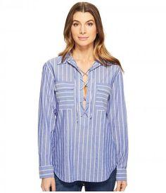 EQUIPMENT - Knox (Riveria Blue/Nature White) Women's Clothing