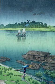 Kawase Hasui (Japanese, Ukiyo-e, 1883–1957): Early Summer Rain, Arakawa; 1932. Color woodblock print.