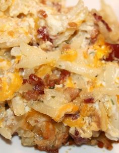 Loaded Baked Potato Casserole Recipe: frozen shredded potatoes sour cream of real bacon pieces Shredded cheddar Mix, place in greased pan. for Till browned Loaded Baked Potato Casserole, Potatoe Casserole Recipes, Loaded Baked Potatoes, Casserole Dishes, Loaded Potato, Cheesy Potatoes, Crack Potatoes, Potato Caserole, Stuffing Casserole