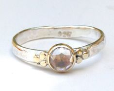 Handmade Engagement Ring White Topaz stone Lab created door OritNaar