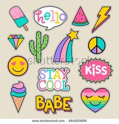 Set of fashion patches, cute pastel badges, fun cartoon icons design vector