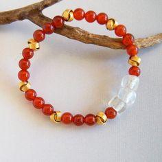 Red Agate Bracelet Carnelian Agate Red Orange Stacking Bead Bracelet Glass Trade Beads Gold Knot Bead Jewelry Stretch Bracelet Rustic Beads by ElektraJewelry on Etsy