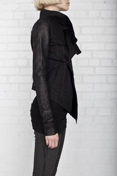 D RKSH D W BY RICK OWENS, HAMMERED LEATHER SLEEVE JACKET: owens' version of a denim jacket. because he's just that badass.