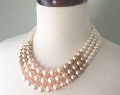 Color Block Triple Decker Necklace in Gray by DemoiselleDesigns