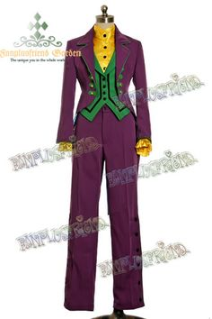 Fanplusfriend Dandy Ouji, Open Front Tuxedo, Vest, Pants & Blouse 4pcs Suit Set Joker Style
