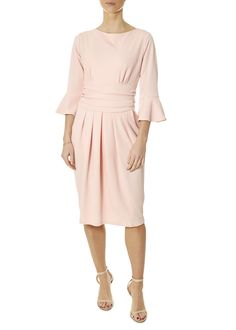 'Tammy' 3/4 Sleeve Blush Pink Dress   Jessimara London Blush Pink Dresses, Black Pleated Skirt, Black Jumpsuit, Black Tops, Dresses For Work, London, My Style, Pretty, Sleeves