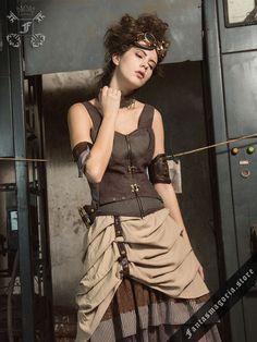 Steampunk Alchemist Corsage Vest with a choker