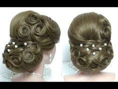 Bridal hairstyle for long hair tutorial. Prom wedding updo - YouTube