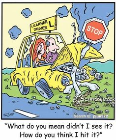 Women Drivers Cartoons and Comics Women Drivers, Bad Drivers, Funny Car Accidents, Car Crash, Car Humor, Funny Cartoons, Uber, Feelings, Comics