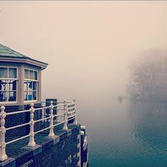 """""""Foggy weesp at the bridge.  #weesp #fog #water #bridge #netherlands #winter #mist"""""""