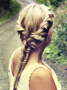 So beautiful!  I need a personal hair stylist!  =) Fishtail with a twisted braid on the sides going into it! Perfect for middle part, side part or any part!
