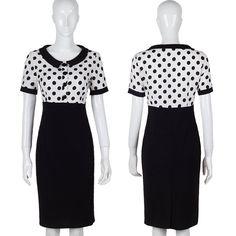 Fashion women work wear polka dot women bodycon dress summer style elegant sexy midi office dresses slim black white dresses
