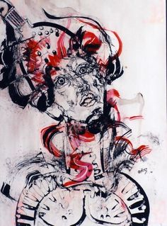 Mixture en pature sur papiers bavard.  Nathalie Taillefumier  http://encreajeux.blogspot.com