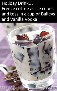 12 Pins of Christmas Freeze coffee as ice cubes and toss in a cup of Bailey's and Vanilla Vodka. Or instead of vodka, maybe kahlua.Freeze coffee as ice cubes and toss in a cup of Bailey's and Vanilla Vodka. Or instead of vodka, maybe kahlua. Christmas Drinks, Holiday Drinks, Party Drinks, Cocktail Drinks, Fun Drinks, Yummy Drinks, Cocktail Recipes, Beverages, Vodka Cocktails