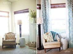 corner curtains before and after at impressions by jani (from tablecloths)