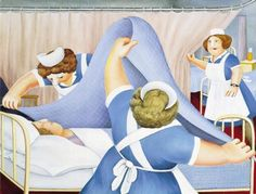 Angels 1983 A very rare, signed limited edition lithograph print by the world famous Plymouth artist Beryl Cook OBE. Published in 1983 as a signed limited edition of 850 prints by the Alexander Gallery in Bristol. Beryl Cook, Nurse Art, English Artists, British Artists, Plus Size Art, Pictures To Paint, Humor, Cool Art, Illustration Art