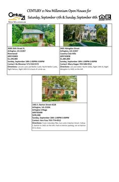 Come visit our Open Houses this weekend! Saturday and Sunday, September 17th-18th, 2016 (various times) Century 21 New Millennium 703-556-4222