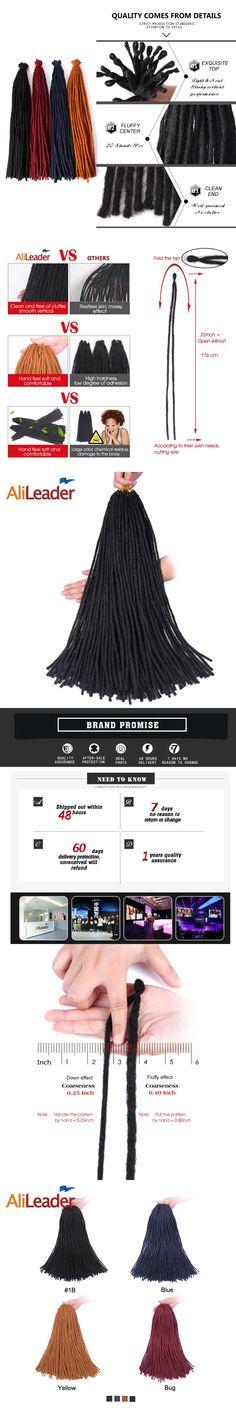 AliLeader Dread Hair 100 Kanekalon Dreadlocks 1-10Pcs/Lot 22 Inch Black Blue Yellow Bug Crochet Braids Synthetic Hair Extensions