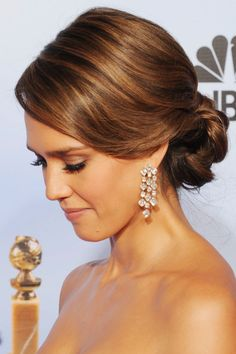 Romantic-Style of Jessica Alba Bobby Pinned Updo Hairstyle at The 2012 Golden Globe Awards Pictures