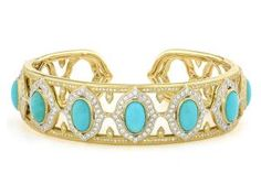 From the Jude Frances Moroccan Collection, the Narrow Moroccan Pave Stone Cuff features oval cabochon turquoise set in 18K yellow gold with pave round diamonds.