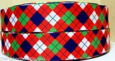 "22mm (7/8"") wide RED GREEN AND BLUE ARGYLL PRINTED GROSGRAIN RIBBON"