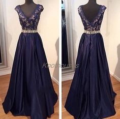 Navy blue Lace Covered Top Gold Beaded waist Satin A-line Prom Dresses  This dress can be custom made, both size and color can be custom made. Custom size and color made will charge for no extra. If you need a custom dress, please send us messages for your detail requirements.  For custom siz...