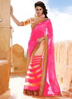 Invigorating Cream N Pink Half N Half Saree