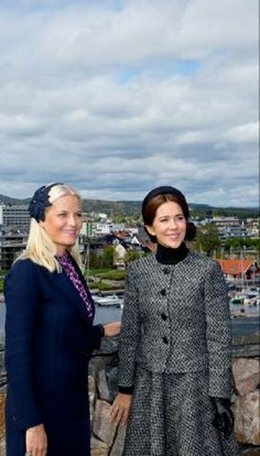 (L) Norwegian Crown Princess Mette-Marit and Danish Crown Princess Mary at the 150th commemoration of the fallen Danish marines in the naval battle of Helgoland, Kristianland, May, 2014
