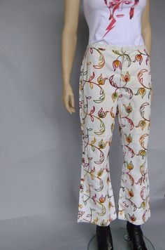 white bell bottoms 70s vintage embroidered jeans by vintage2049