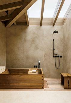 A teak soaking tub in one of Nobu Ryokan Malibu's beachfront rooms.