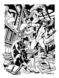 """ Really fun Daredevil and She-Hulk piece by Chris Samnee. Comic Book Artists, Comic Artist, Comic Books Art, Bd Comics, Marvel Comics, Superhero Art Projects, Marvel Cartoons, Comic Styles, Marvel Art"