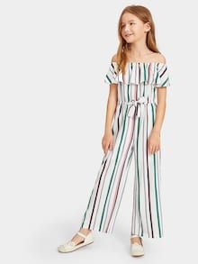 To find out about the Girls Flounce Layered Neck Vertical-stripe Jumpsuit at SHEIN, part of our latest Girls Jumpsuits ready to shop online today! Girls Fashion Clothes, Kids Outfits Girls, Cute Girl Outfits, Cute Summer Outfits, Kids Fashion, Fashion Outfits, Cute Outfits For Kids, Fashion Ideas, Cute Dresses