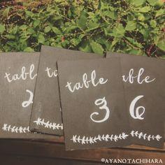 2つ目は、黒に塗りつぶした木に手書きしたBlack×Whiteのテーブルナンバー。 写真のように、グリーンに合わせてもよく映えますね♪