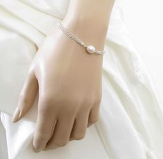Single Pearl Bracelet Simple Pearl Wedding by CandSNolandBridal, $45.00