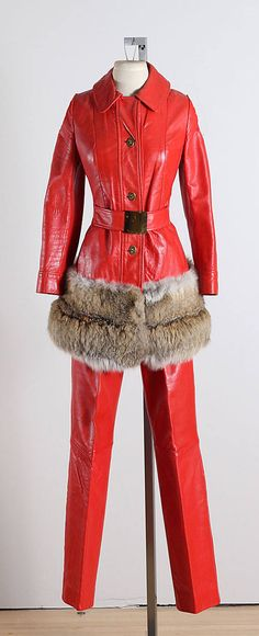➳ vintage 1960s jacket & pants * red leather * acetate lining * fox fur trimmed jacket * jacket pockets * gold button front with belt * metal side zipper pants condition | excellent - few scratches on belt fits like xs/s jacket length 31 bodice 16 bust 36 waist 30 shoulders 14.5 sleeves 22.5 pant length 43 inseam 32 waist 26-28 hem allowance 2  some clothes may be clipped on dress form to show best fit for appropriate size.  ➳ shop http://www.etsy.com/shop/millst...